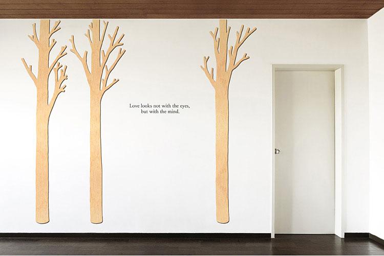 가시나무 우드스티커 월데코