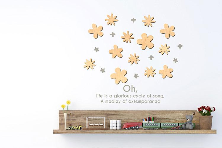 작은꽃 우드스티커 월데코