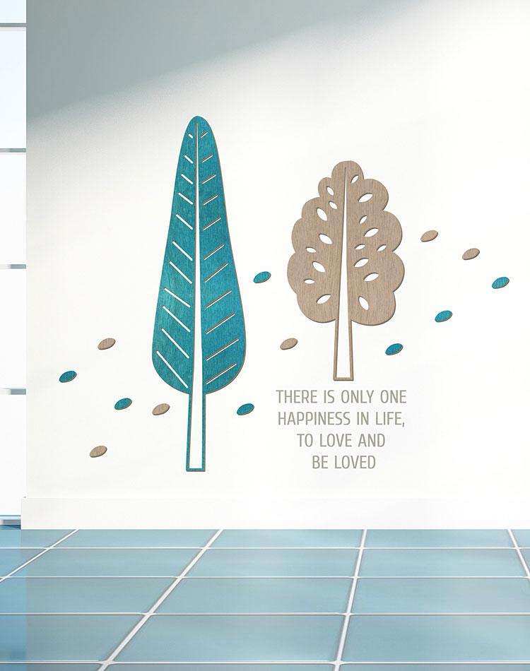 잎나무 우드스티커 월데코