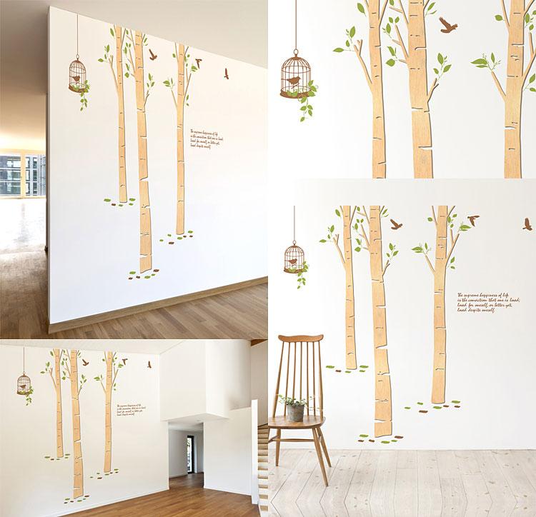 자작나무숲 우드스티커 월데코